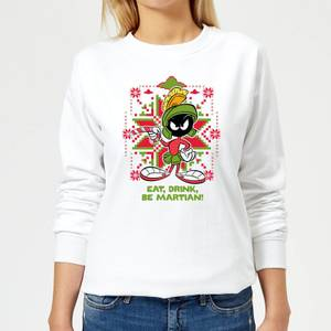 Looney Tunes Eat Drink Be Martian Women's Christmas Sweatshirt - White