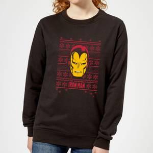 Marvel Iron Man Face Women's Christmas Sweater - Black