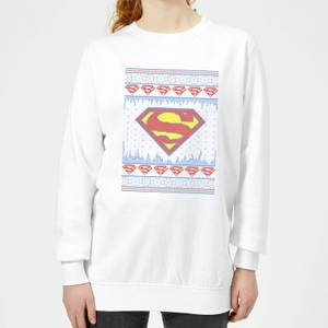 DC Supergirl Knit Women's Christmas Sweater - White
