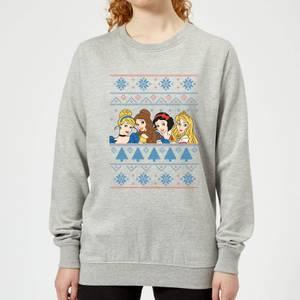 Disney Princess Faces Women's Christmas Sweatshirt - Grey