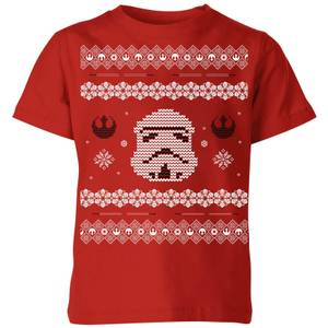 Star Wars Stormtrooper Knit Kids' Christmas T-Shirt - Red