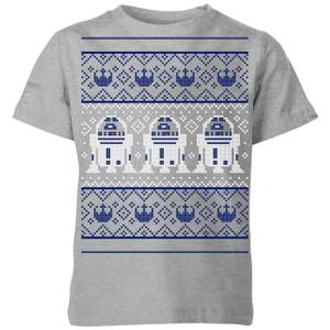 T-Shirt Star Wars R2-D2 Knit Christmas- Grigio - Bambini