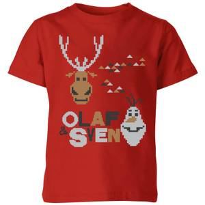 Disney Frozen Olaf and Sven Kids' Christmas T-Shirt - Red