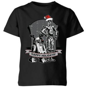 Star Wars Happy Holidays Droids Kids' Christmas T-Shirt - Black