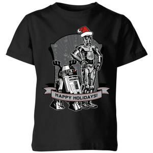 T-Shirt Star Wars Happy Holidays Droids Christmas- Nero - Bambini