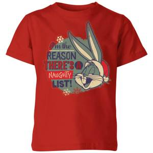 Looney Tunes I'm The Reason There Is A Naughty List Kids' Christmas T-Shirt - Red