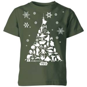 Star Wars Character Christmas Tree Kids' Christmas T-Shirt - Forest Green