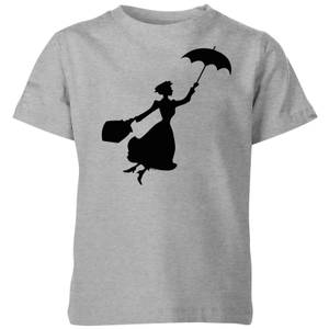 Mary Poppins Flying Silhouette Kids' Christmas T-Shirt - Grey