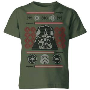 Star Wars Darth Vader Face Knit Kids' Christmas T-Shirt - Forest Green