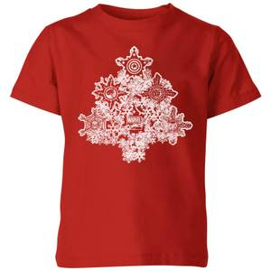 Marvel Shields Snowflakes Kids' Christmas T-Shirt - Red