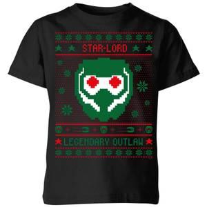 Guardians Of The Galaxy Star-Lord Pattern Kids' Christmas T-Shirt - Black