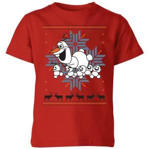 Disney Frozen Olaf and Snowmen Kids' Christmas T-Shirt - Red