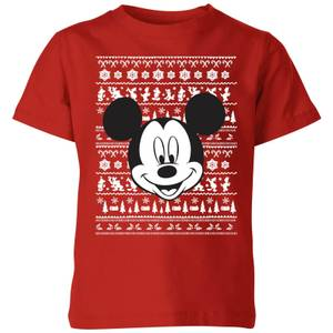 Disney Mickey Face Kids' Christmas T-Shirt - Red