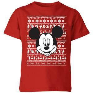 Disney Mickey Face Kids' Christmas T-Shirt - Red