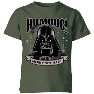 Star Wars Darth Vader Humbug Kids' Christmas T-Shirt - Forest Green