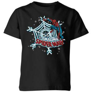 Marvel The Amazing Spider-Man Snowflake Web Kids' Christmas T-Shirt - Black