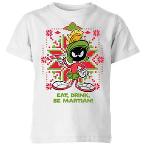 Looney Tunes Eat Drink Be Martian Kids' Christmas T-Shirt - White