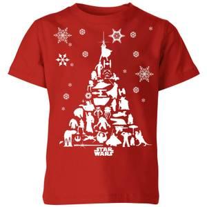 Star Wars Character Christmas Tree Kids' Christmas T-Shirt - Red
