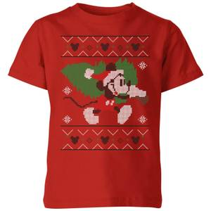 Disney Tree Mickey Kids' Christmas T-Shirt - Red