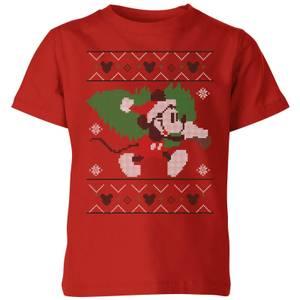 T-Shirt Disney Tree Topolino Christmas - Rosso - Bambini