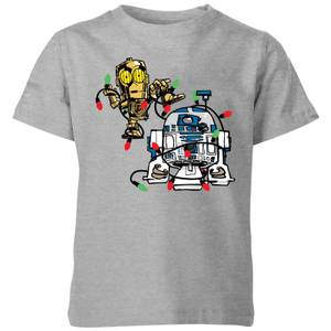 Star Wars Tangled Fairy Lights Droids Kids' Christmas T-Shirt - Grey
