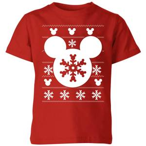 Disney Snowflake Silhouette Kids' Christmas T-Shirt - Red