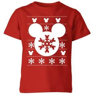 Disney Snowflake Silhouette Kids' Christmas T-Shirt - Red