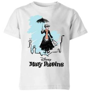 Mary Poppins Rooftop Landing Kids' Christmas T-Shirt - White