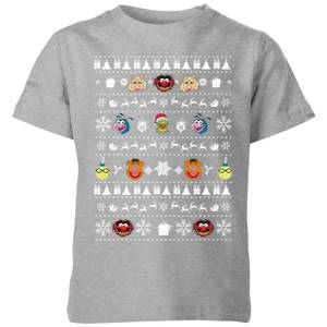 Muppets Pattern Kinder Christmas T-Shirt - Grau