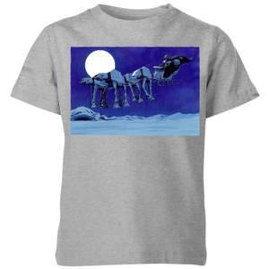 Star Wars AT-AT Darth Vader Sleigh Kids' Christmas T-Shirt - Grey