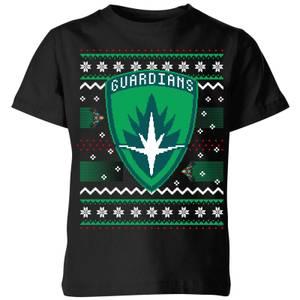 Guardians Of The Galaxy Badge Pattern Christmas Kids' Christmas T-Shirt - Black