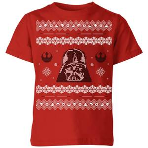 Star Wars Darth Vader Knit Kids' Christmas T-Shirt - Red
