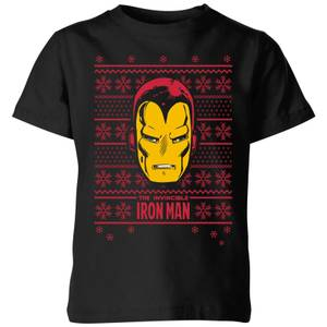 Marvel Iron Man Face Kids' Christmas T-Shirt - Black