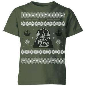 Star Wars Darth Vader Knit Kids' Christmas T-Shirt - Forest Green