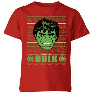 Marvel Hulk Face Kids' Christmas T-Shirt - Red