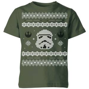 Star Wars Stormtrooper Knit Kids' Christmas T-Shirt - Forest Green