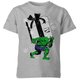 Marvel The Incredible Hulk Christmas Present Kids' Christmas T-Shirt - Grey