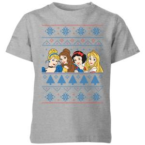 Disney Princess Faces Kids' Christmas T-Shirt - Grey