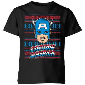 Marvel Captain America Face Kids' Christmas T-Shirt - Black
