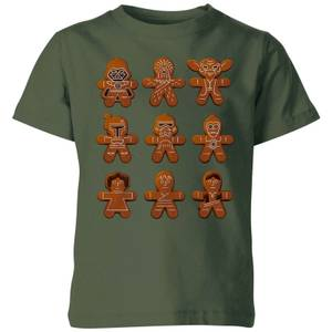 Star Wars Gingerbread Characters Kids' Christmas T-Shirt - Forest Green
