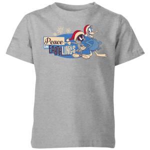 Looney Tunes Peace Among Earthlings Kids' Christmas T-Shirt - Grey
