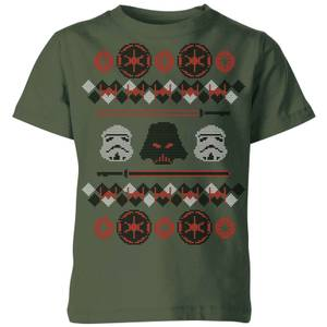 Star Wars Empire Knit Kids' Christmas T-Shirt - Forest Green