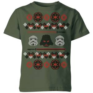 Star Wars Empire Knit Kids' Christmas T-Shirt - Forest Green