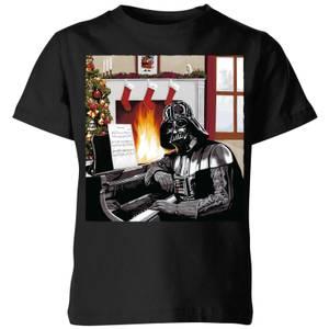 Star Wars Darth Vader Piano Player Kids' Christmas T-Shirt - Black