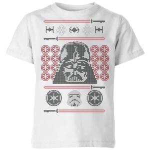 Star Wars Darth Vader Face Knit Kids' Christmas T-Shirt - White