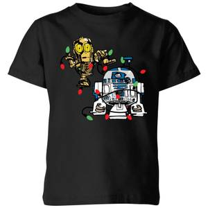 Star Wars Tangled Fairy Lights Droids Kids' Christmas T-Shirt - Black