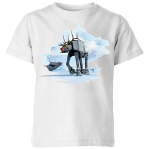 Star Wars AT-AT Reindeer Kids' Christmas T-Shirt - White