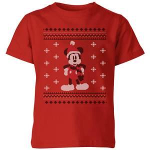 T-Shirt Disney Topolino Scarf Christmas - Rosso - Bambini