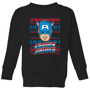 Marvel Captain America Face Kids' Christmas Sweatshirt - Black