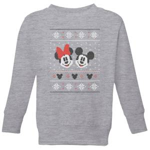 Disney Mickey and Minnie Kids' Christmas Sweatshirt - Grey